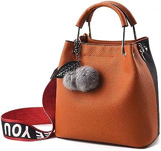 MXZYBHD Ladies Single Shoulder Messenger Bag, Wide Shoulder Strap Detachable, Mosaic Color, Fashion Trend Large Capacity, Suitable For Banquets, Shopping. Medium, designed for women (Color : Orange)