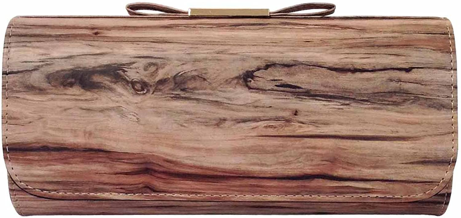 JNB Vintage Wood Pattern Clutch with Bow