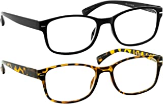 Reading Glasses 2 Pack Black & Tortoise Always Have a Timeless Look, Crystal Clear Vision, Comfort Fit with Sure-Flex Spring Hinge Arms & Dura-Tight Screws 100% Guarantee +4.50