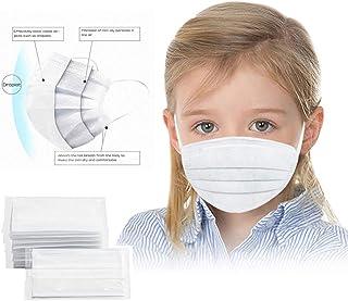 BeAcien 10PCS/20PCS/50PCS/100PCS Disposable Face Mask for Kids Non-woven 3Ply Solid Color Simple Half Face Cover Mask (Whi...