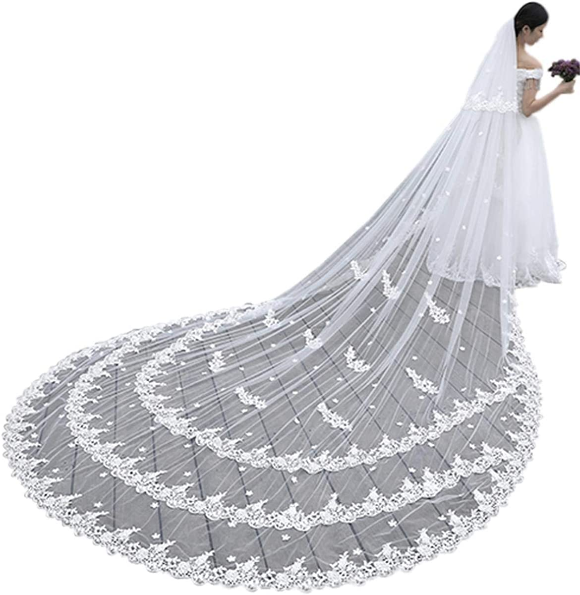 Fenghuavip 5M Cathedral Wedding Veils Long 2 Tier Lace Appliques Blusher Veils with Comb