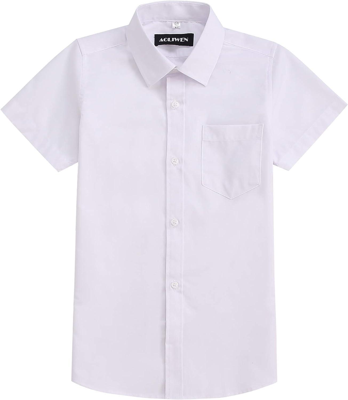 AOLIWEN Boy's Short Sleeve Ruffle Shirts School Uniform Blouse 4-14 Years