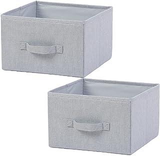 ROSG - Panier de Rangement, Lot de 2 paniers de Rangement en Coton avec poignée utilisé comme boîte de Rangement pour vête...