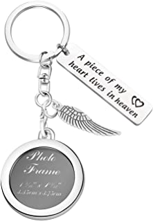 MAOFAED A Piece of My Heart is in Heaven Memorial Keychain Photo Frame Memorial Keychain Sympathy Gift Remembrance Gift Loss of Loved One Gift