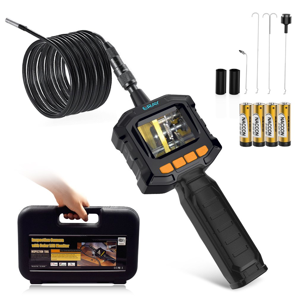 2000MAH Battery Borescope for Automotive//Pipeline//Air Conditioning Inspection Riloer Industrial Endoscope 8 LED Lights 2 Meters 1080P Waterproof Inspection Camera with 4.3 Inch LCD Screen