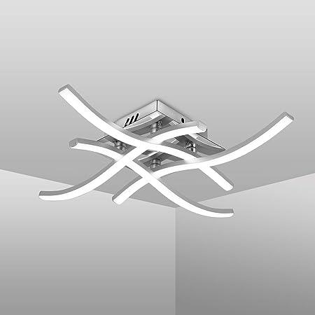 Plafonnier LED, Suspension Luminaire en forme de vague, lumière blanche neutre 4000K, LED intégrées 24W 2000Lm, lustremoderne pour salon ou cuisine, IP20