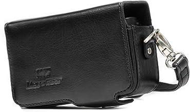 MegaGear MG1509 - Funda para Canon PowerShot SX740 HS/SX730 HS (de Cuero, con Correa) Color Negro