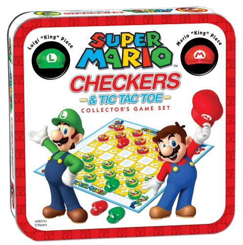 Super Mario Checkers & Tic-Tac-Toe Collector's Game Set | Featuring Super Mario Bros - Mario & Luigi | Collectible Checkers and TicTacToe Perfect for Mario Fans