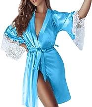 Women Sexy Silk Lace Kimono Lingerie Dressing Robe Bathrobe Lingerie Sleepwear Pajamas Cardigan Babydoll Nightgown Sleepwear Set With Belt