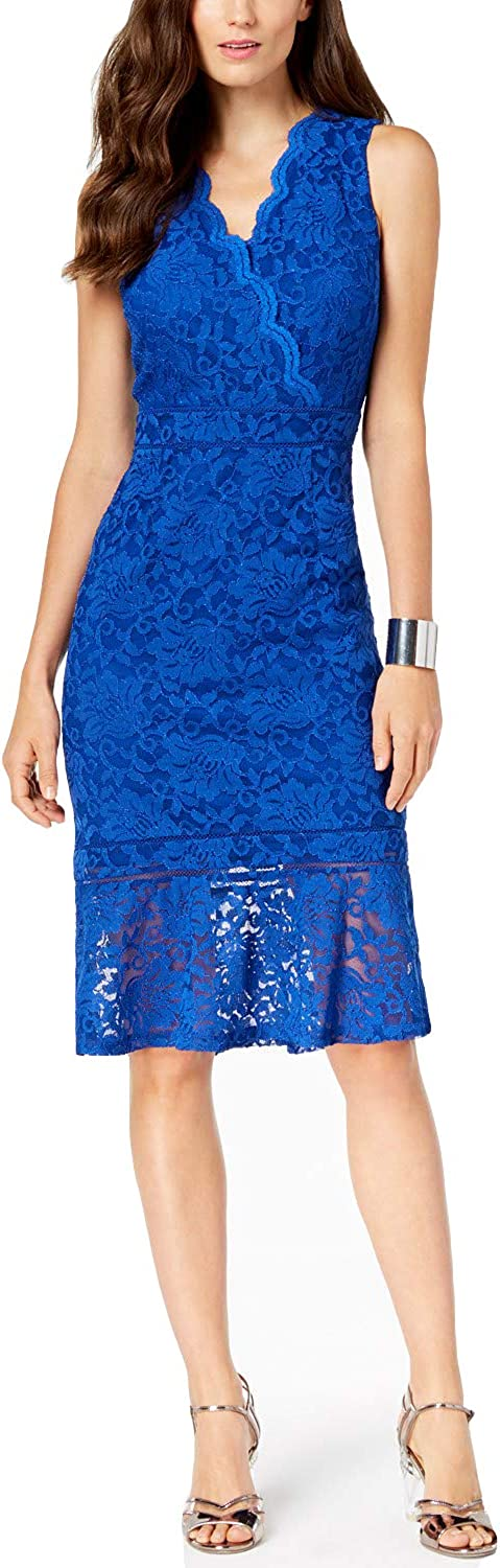 Fenghuavip Royal bluee Lace Cocktail Formal VNeck Mother The Groom Dress