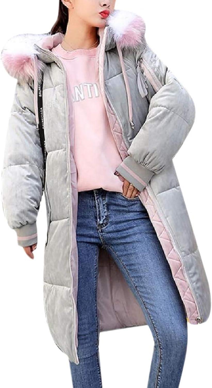 Doufine Womens Winter gold Velvet Padded Outwear Overcoat Padded Outwear