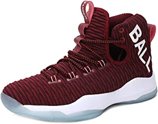 Yong Ding Men Basketball Sneakers Knitting Mesh Upper Breathable High Top Athletic Trainers with Shock Absorbing Sole