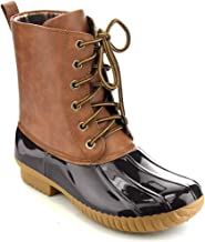 AXNY Dylan Women's Lace Up Two Tone Combat Style Calf Rain Duck Boots