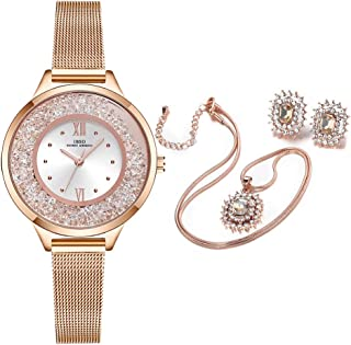 IBSO BOERNI AIBISINO Women Watch Sets Quartz Wrist Watches with Rose Gold Earring and Necklace 3 Sets for Christmas Valentine's Day Gifts