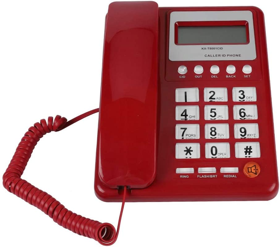 List price Diyeeni Retro Red Los Angeles Mall Corded Telephone with ID Caller Display Wired