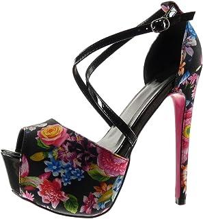 4786ce03d2ec62 Angkorly - Chaussure Mode Escarpin Sandale Stiletto Plateforme Sexy Femme  Fleurs lanière Talon Haut Aiguille 15