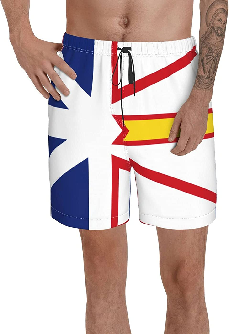 Count Newfounfland and Labrador Flag Men's 3D Printed Funny Summer Quick Dry Swim Short Board Shorts with