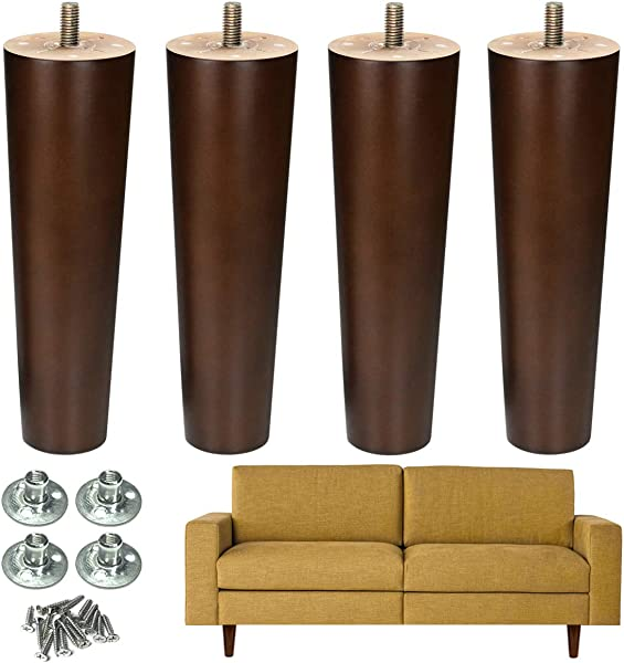 Furniture Leg Sofa Legs Wood 8 Inch Midcentury Walnut Color Chair Legs Replacement 5 16 Inch Bolt Set Of 4
