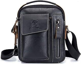 Leather Mens Shoulder Bag Vintage Fashion Cowhide Cross Body Satchel Bag For Business Casual Travel Black
