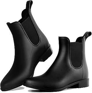 Dawan Women's Short Rain Boots Waterproof and Non-Slip Slip on Ankle Chelsea Rain Footwear