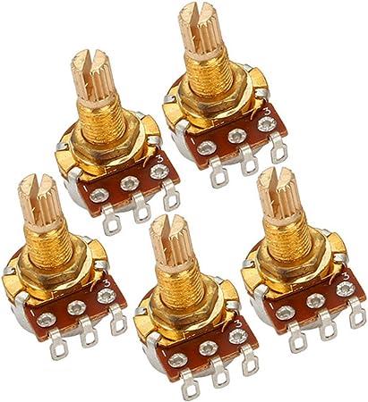 Yibuy 5PCS A500k Ohm Audio Mini Pots ギターポテンショメータ エレキギター用