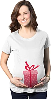 Crazy Dog Tshirts - Maternity Box Holiday Pregnancy Announcement T Shirt - Camiseta De Maternidad