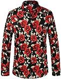 SSLR - Camisa casual de manga larga para hombre con botones y estampado floral