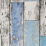 ecosoul Wachstuchtischdecke Scrapwood abwaschbar grau weiß hellblau Holz-Optik Outdoor-Tischdecke Breite 140 cm Länge wählbar
