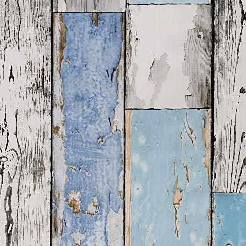 ecosoul Nappe en toile cirée lavable, 140 cm de largeur, gris - blanc - bleu, longueur au choix, aspect bois 140 cm bleu