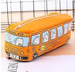 YWSCXMY-AU Cute School Buspen Large Capacity Canvas Car Pencil Case Student Stationery Storage Bag (Color : Orange)