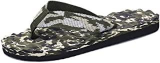LFSP Classic Popular Sandals Beach Shoes Men's Slippers Flat Heel Flip-Flops Sandals Shower Wide Width Waterproof Splice Vamp Leisure Beach Water Shoes (Color : Green, Size : 8.5 UK)