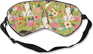 Sheltie Floral Shetland Sheepdogs Sheltie Dog Desi Silk Sleep Mask Comfortable Blindfold Eye mask Adjustable for Men, Women or Kids
