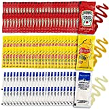 50 Heinz Ketchup Packs: When it comes to the king of the catsup game one name reigns supreme. Heinz ketchup packets are the number one choice for ketchup travel condiments. Get 50 Castup packets in this variety pack. 50 French's Mustard Packets: Fren...