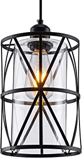 SHENGQINGTOP Black Industrial Metal Swag Light, Cylindrical Pendant Light with Clear Glass Shape, New Transitional Hanging Lighting Fixture for Kitchen Island Counter Dining Room Bedroom Restaurant
