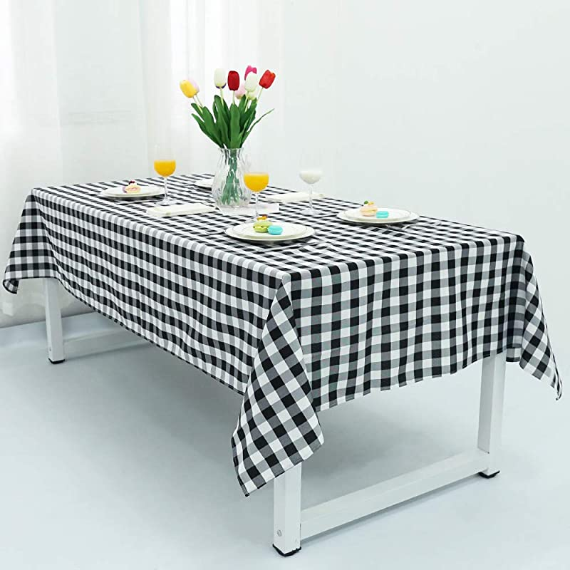 TRLYC Black White Checkered Table Cover Party Checkered Tablecloth Checkered Table Cover 54 X54