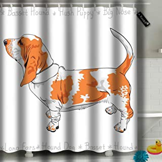 txregxy Shower Curtain Bath Curtain Tan and White Dog Basset Hound Breed Standing Sideways His Tail is Up Decorative Modern Bathroom Accessories 10710 72