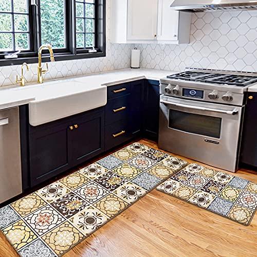 AGELMAT Kitchen Mat,2PCS Easy Clean Kitchen Rug Set...