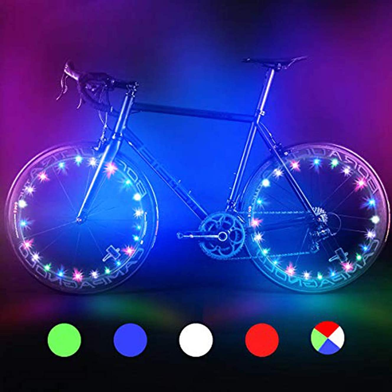 Bodyguard LED Bike Wheel Lights, Automatic and Manual Lighting, Waterproof Bicycle Wheel Light String with Batteries Included, Ultra Bright (1Pack)