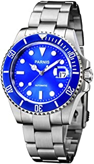 Fanmis Blue Dial Ceramic Bezel Luminous Mark Submariner Automatic Mechanical Men's Women's Silver Watch