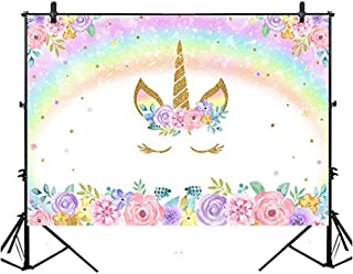 Rainbow Unicorn Backdrop Gold Unicorn Birthday Photo Backdrop 7x5ft Glitter Bubble Pastel Rainbow Floral Photography Backg...