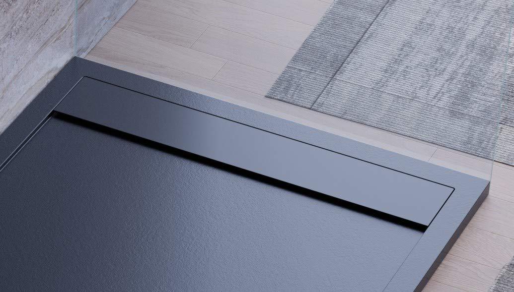 Plato de ducha negro, diseño moderno, modelo Sevilla, de mármol y ...