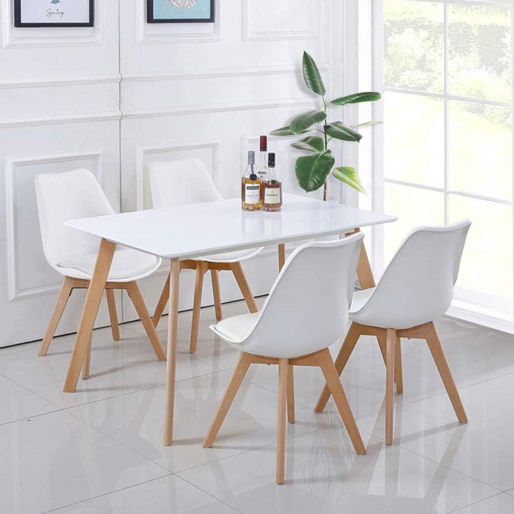 XJAXY Cuisine et Salle à Manger chaises de Salle, Salle à Manger Retro Side Mid Century chaises Modernes Coussin Durable avec Pieds en Bois Massif, PU Blanc,Blanc Black