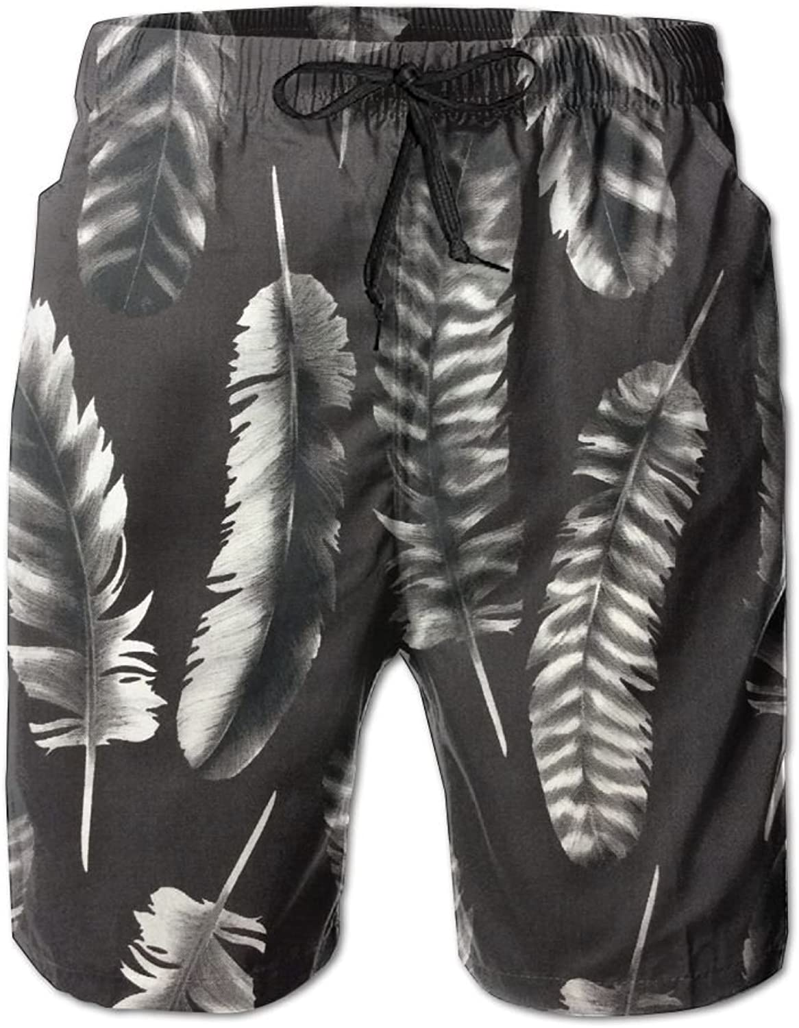 ec5e2797ac3 Quick Dry Beach Shorts Feather Feather Feather Print Swim Trunks Board  Pants With Pockets For Men 0465eb