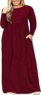 Womens L-4XL Casual Plus Size Maxi Dresses with Pockets