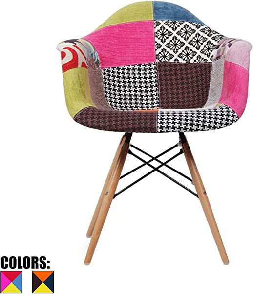 2xhome Upholstered Mid Century Modern Dining Arm Chair With Natural Wood Legs Patchwork A Fabric