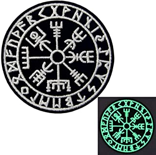 Patches Glow In Dark Vegvisir Viking Compass Norse Rune Morale Tactical Embroidered Applique Patch