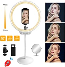 LED Ring Light with Mirror&Phone Holder&Soft Tube Stand for Live Streaming,YouTube,Portrait,Dimmable Makeup Selfie Ring Light for Photography, 3 Light Modes & 10 Levels Brightness