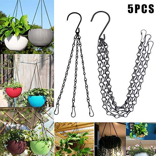 Daxerg Bloempot, 5 stuks, hangende ketting, mand, bloempot, 3-punts tuinplant, kledinghanger met haken