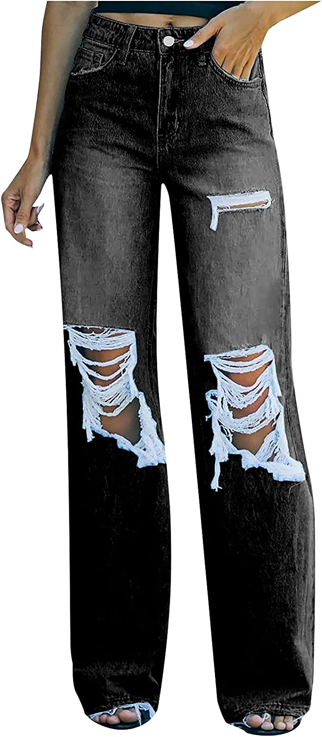 MIVAMIYA Women's Bootcut Mom Jeans High Waisted Ripped Y2k Boyfriend Relaxed Fit Straight Wide Leg Distressed Jeans Pants