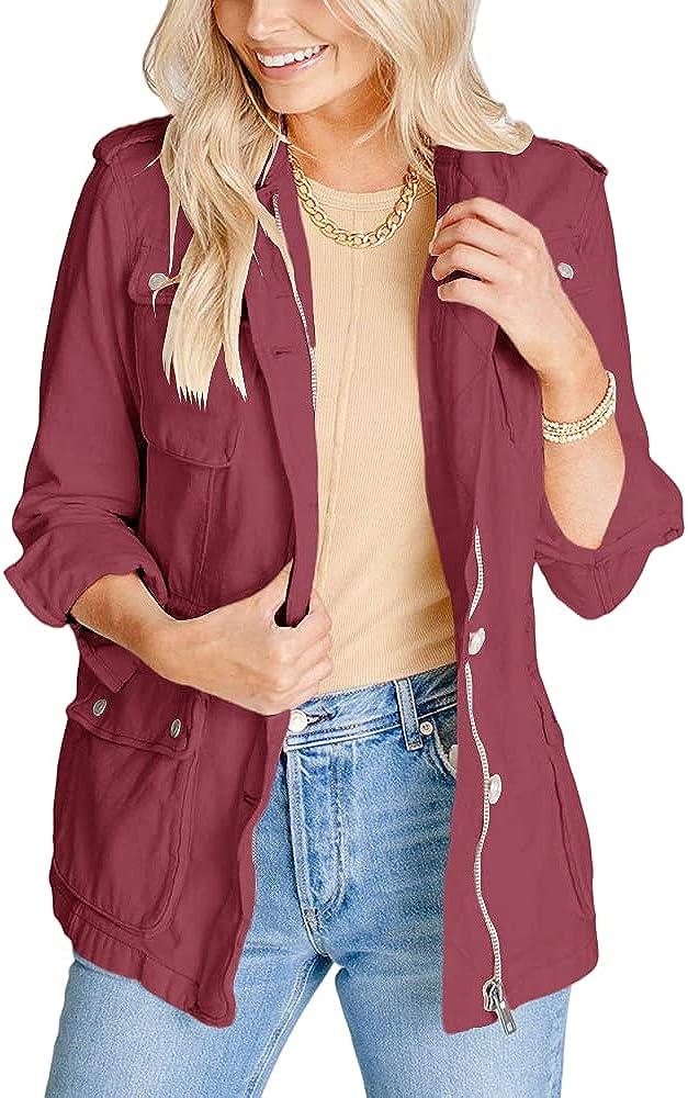 BRUBOBO Womens Military Anorak Jacket Zip Up Lightweight Safari Utility Coat Outwear With Pockets